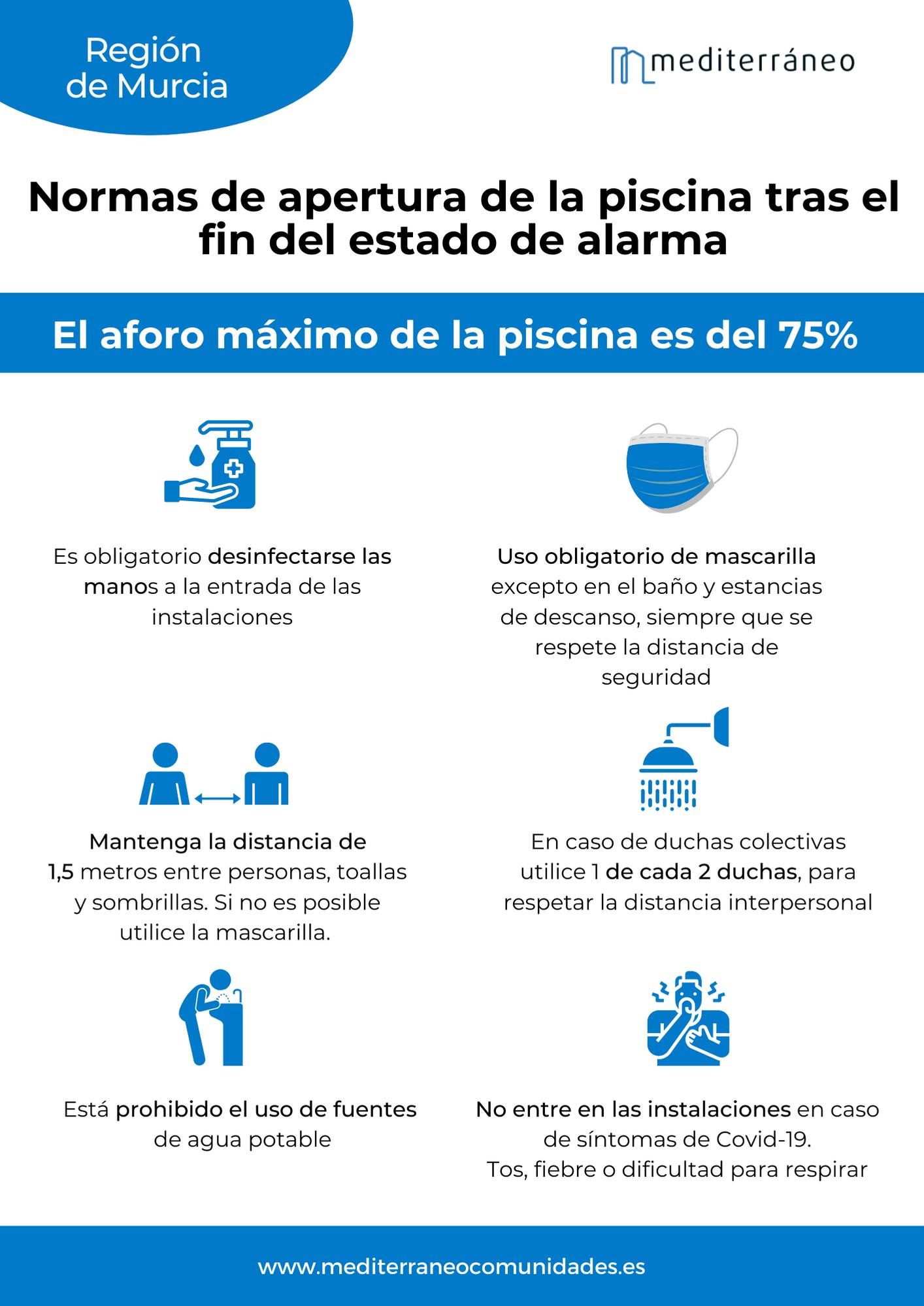 Normas apertura piscinas 2021 en la Región de Murcia