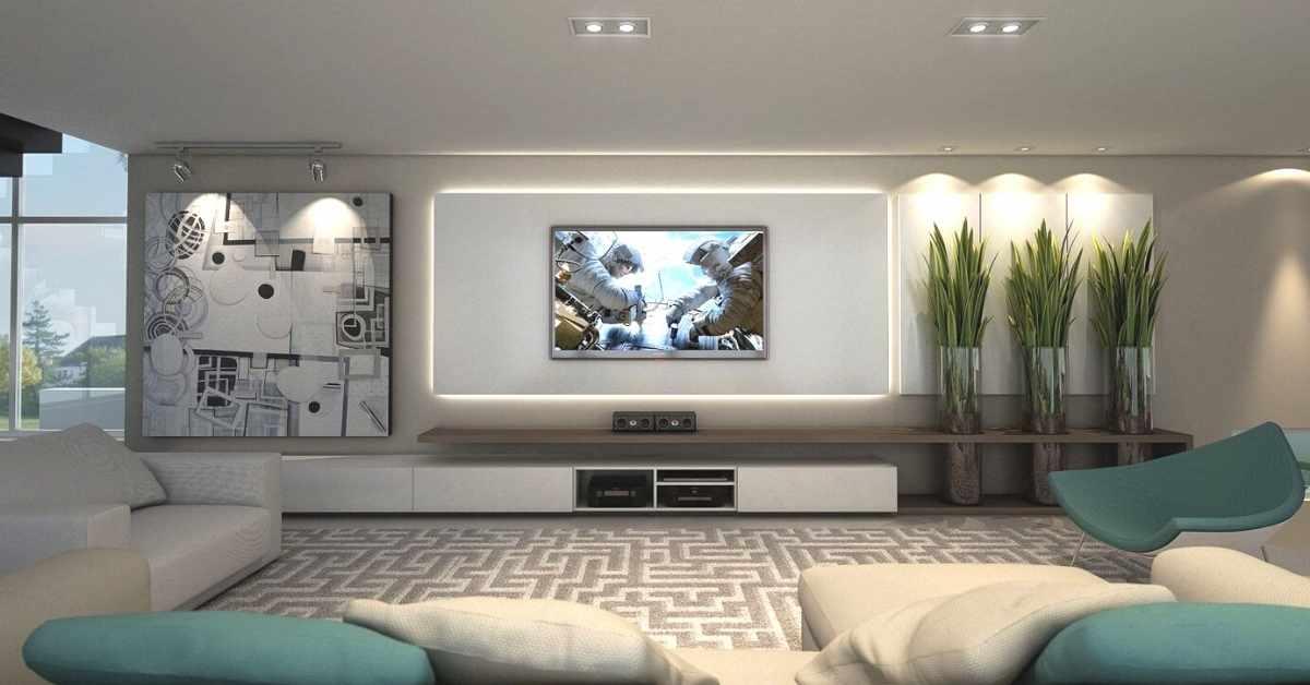 Decorar-pared-televisión-estilo-futurista
