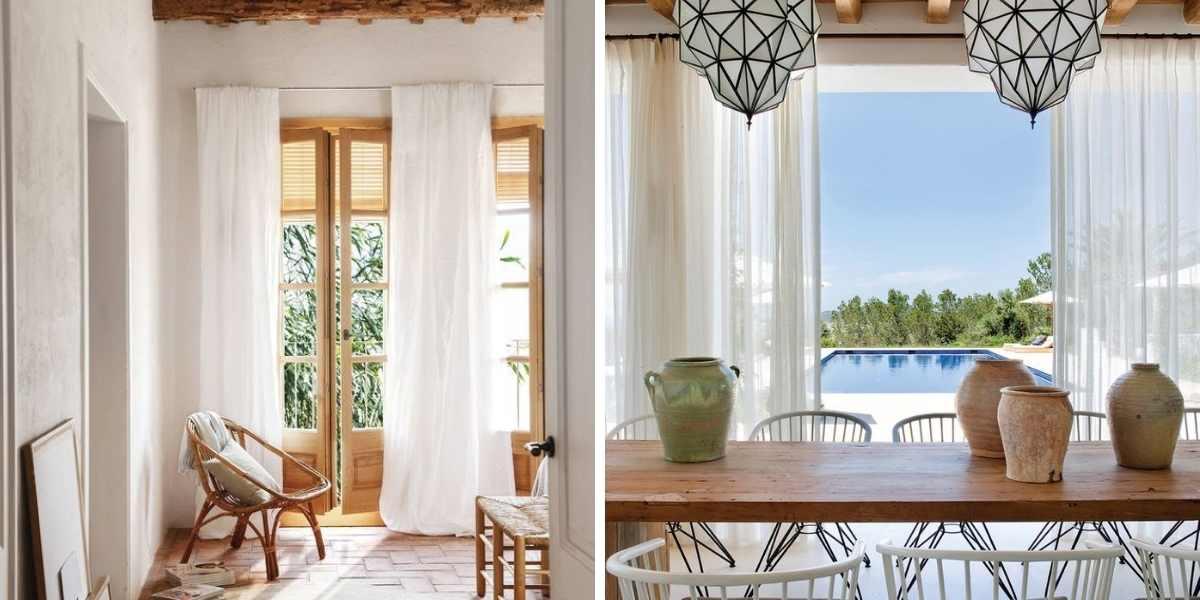 cortinas claras decorar casa de pueblo