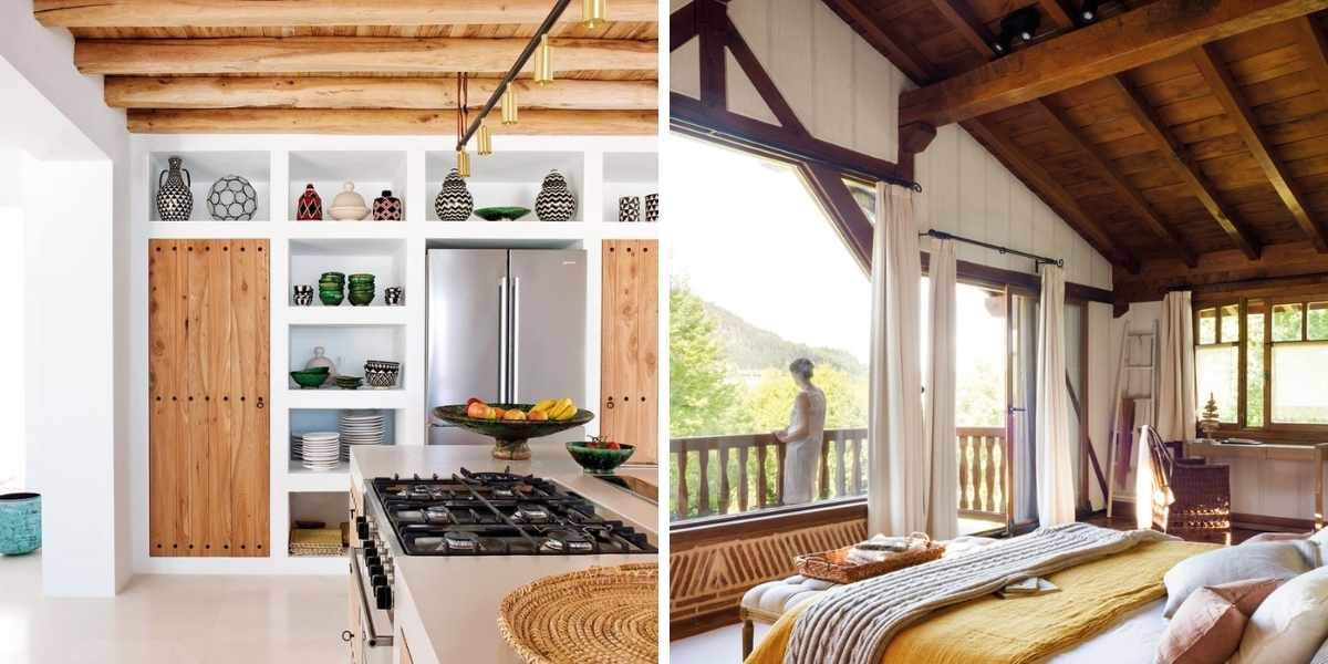 vigas de madera para decoración casa de pueblo